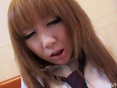 Tempting schoogirl Ai on her knees stroking penis until her trimme