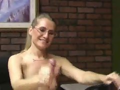 Amazing Sara James witch sexual manicure nails gives a HANDJOB