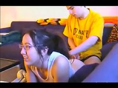 Nerdy Young woman gets assfucked while playin Playstation