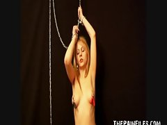 Teenager blond Susans bondage and nipple torture