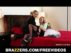 Beauteous tempting blonde cop visits her perfect lezzy Girlfriend
