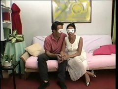 Masked couple - really hirsute attractive mature vagina