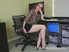 Gaunt Cougar Betty Blaze gets all wild at the office