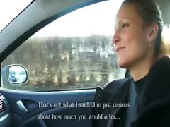 Amateur Czech lassie demonstrates her breast and crushed in the car