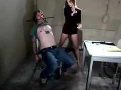 Dominatrix flogs her sub without mercy