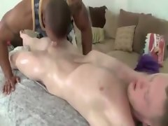Ebony masseur licking on lewd white dick and loves it