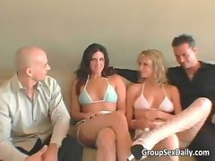 Foursome group sex with two lewd perfect