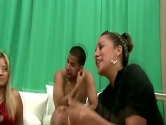 Cfnm femdoms suck penis as friends watch