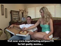 Amateur tempting blond lassie talking with the pizza man in living room