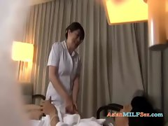 Experienced Masseuse Getting Her Knockers Rubbed Licking Chap Shaft On The Bed In The Hotel Roo