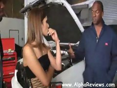 Amber Rayne gangbang with 5 ebony auto mechanics