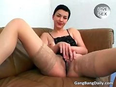 Attractive short haired vixen getting fucked