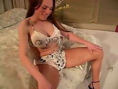 Transsexual Kimberly Devine in shiny pantyhose