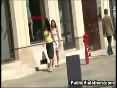 Amateur slutty chicks get violated in public