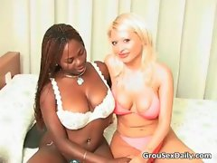 Big breasted slutty ebony gal and her blond