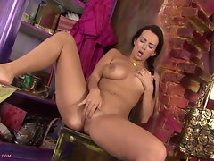 Dark haired Slutty girl Baja Stripping