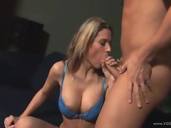 Sensuous Megan Joy shoves this stiff penis down her throat