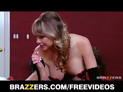 Maya Hills in a corset taunts her man with her big natu