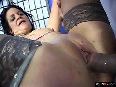 Stockinged Mommy has her dripping vagina and butt expanded