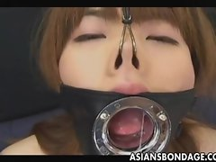 Seductive japanese licks with a Large Open Mouth Gag