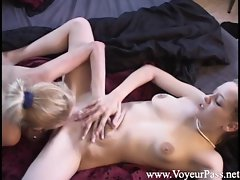 Superb lesbo munches on her partners dripping slot