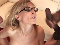 Nina Harley gets her face drenched with warm cum