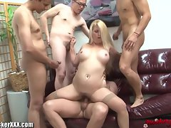 Buxom Vixen Slutty wife Gang Screwed Cuckold