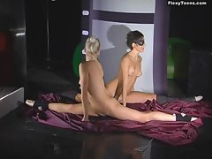 Nude stretching with filthy randy chicks