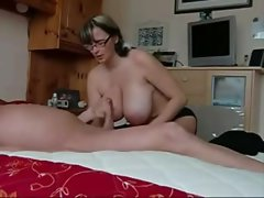 Saucy amateur gets her knockers glazed with thick cum