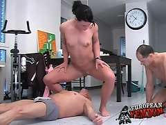 Pissing slutty girl dominates a couple of dudes