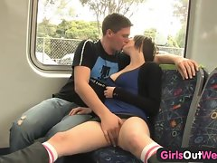 Amateur couple banging on the train