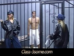One happy prisoner banged by two filthy wench guardian