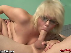 Buxom Blondie Cougar With Mega big melons gets Facialed
