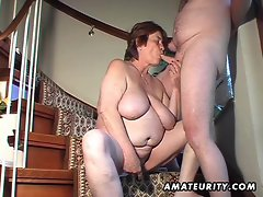 Plumper amateur better half toys and licks and gets banged