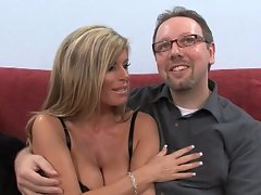 Charming blond Mommy strokes pecker in front of her husband