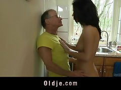 Sensual hooligan bangs rough the Older man