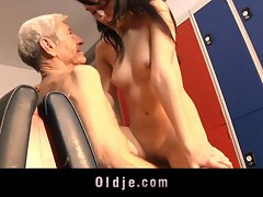 Leda warms up his muscles with an Older Man