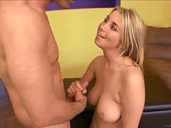 Saucy chick Oklahoma gets her hooters glazed with warm cum