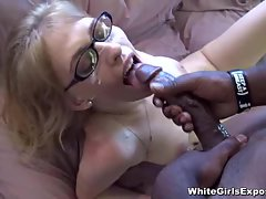 Nerdy Cutie Gets Plastered With Cum By A Ebony Dick