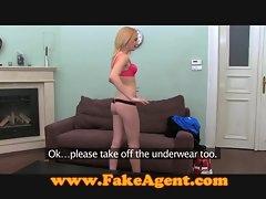 FakeAgent Tempting blonde accepts bum creampie