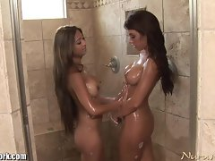 Butch Randy chicks Soapy Shower Time