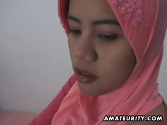 Arabic amateur dirty wife homemade dick sucking and fuck with facial