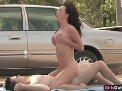 Top heavy Australian cutie banged and creampied by the car
