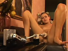 Lassie Stone rides the mechanical fuck machine with her narrow stunning anal
