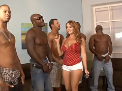 5 interracial chaps lineup so that mature whore Janet Mason can choose the best