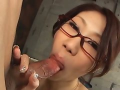 Fuuka takanashi with glasses gives dick sucking