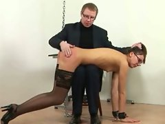 Secretary in stockings spank and ass banged