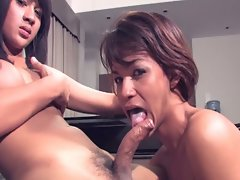Asian transvestite suck each others uncut salami