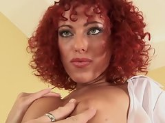 Curly redheaded bitch filthy cock sucking