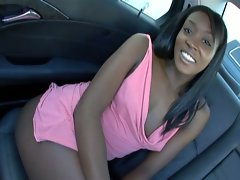 Naughty ebony bombshell fucked rough on the backseat